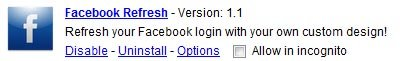 google chrome facebook refresh extension options image1 Change Facebook Login Background Using Chrome Extension!