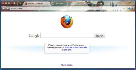 Change firefox homepage search