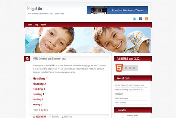 1 blogolife html5 wordpress theme 10 Best Free HTML5 Wordpress Themes